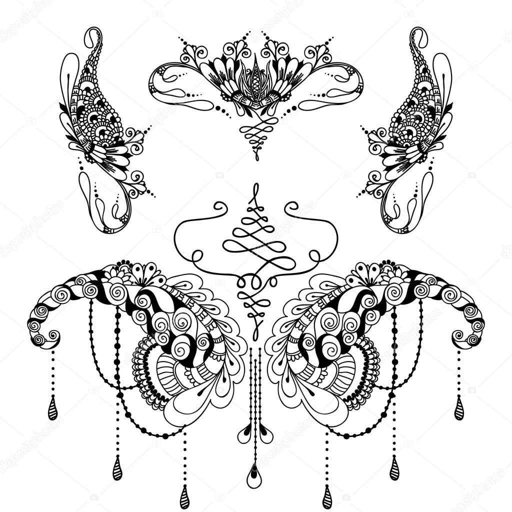 Szablon Tatua Kwiaty Mehndy