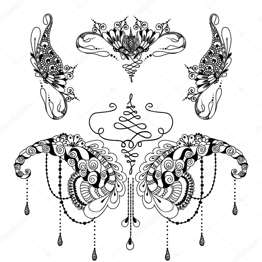 Mehndy Blumen Tattoo Vorlage Stockvektor Xarlyxa 108508462