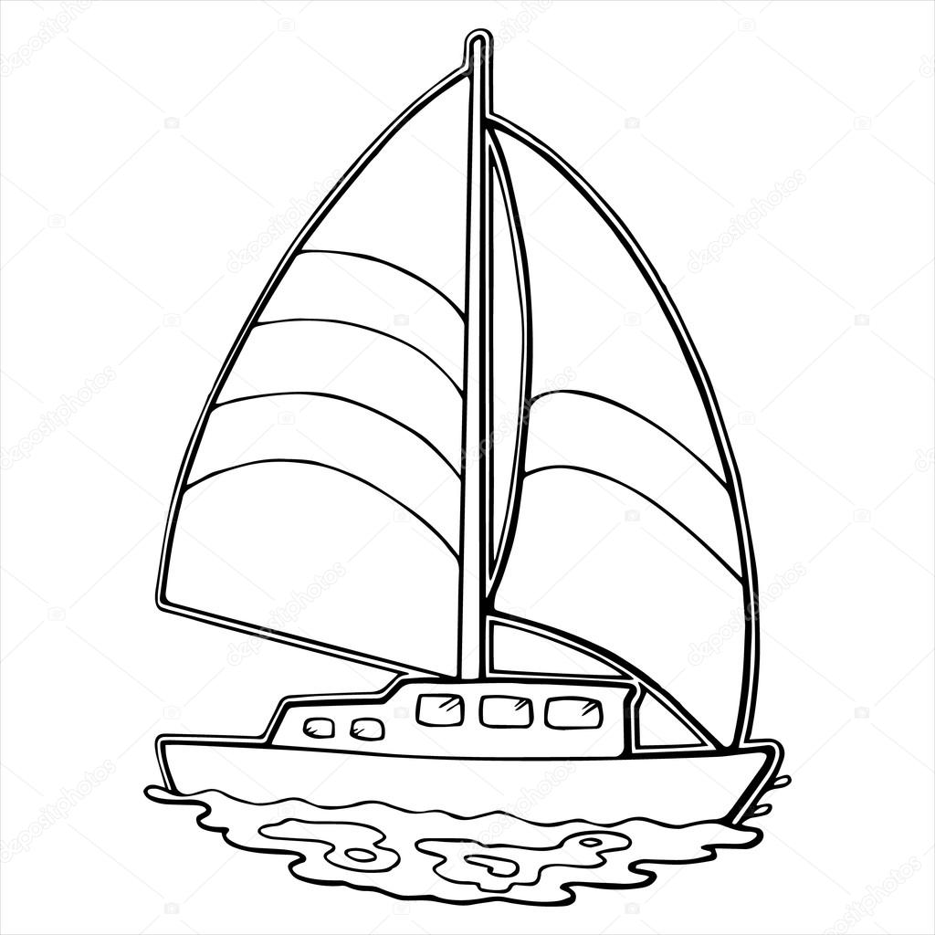 Sailboat Cartoon Illustration Isolated On White