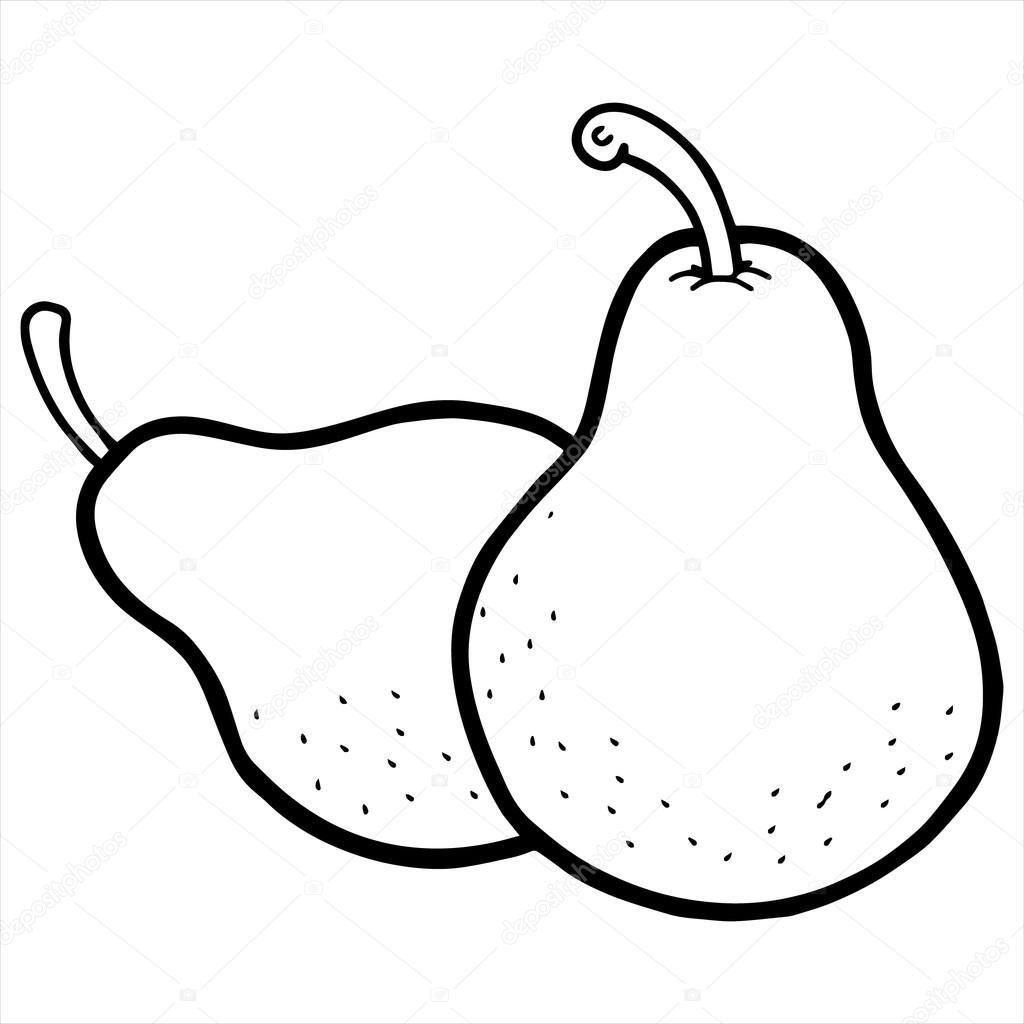 Pear Cartoon Illustration Isolated On White