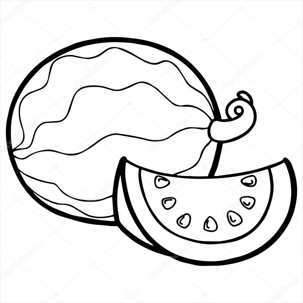 Watermelon Cartoon Illustration Isolated On White
