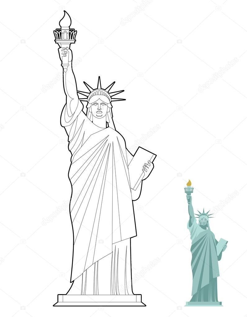 Statue Of Liberty Coloring Book Symbol Of Freedom And Democracy Stock Vector C Popaukropa 105769898