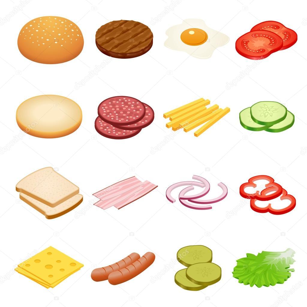 Burger Isometric Burger Ingre Nts On White Backgrounds
