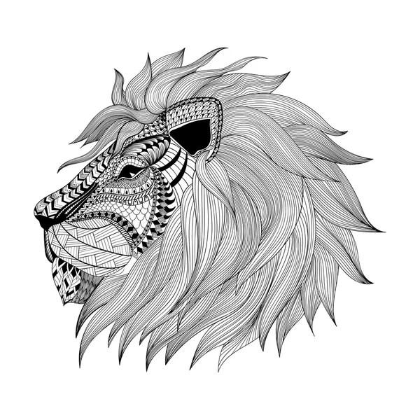 zentangle había estilizado rostro de león mano la doodle dibujado