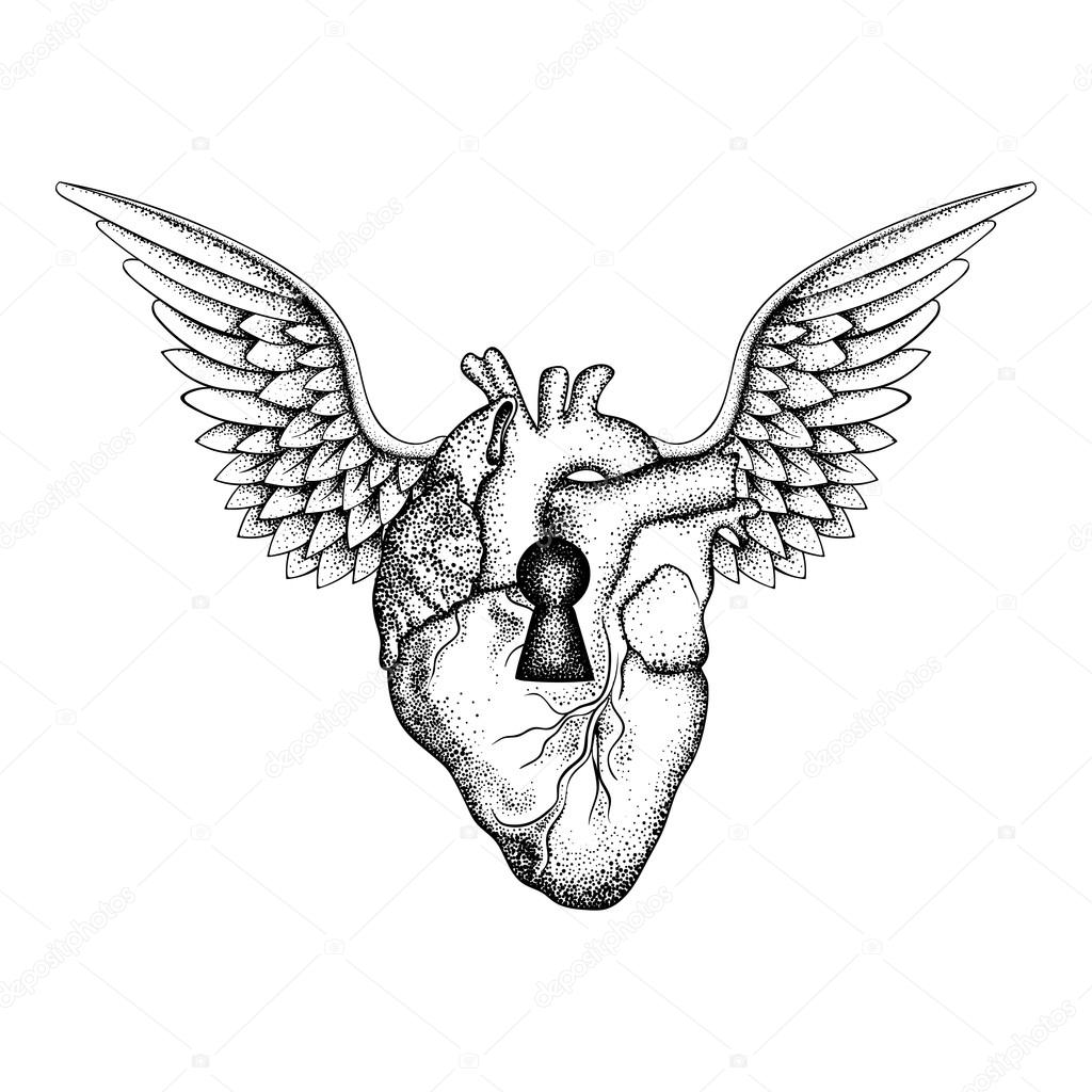 Hand Drawn Elegant Anatomic Human Heart With Wings And