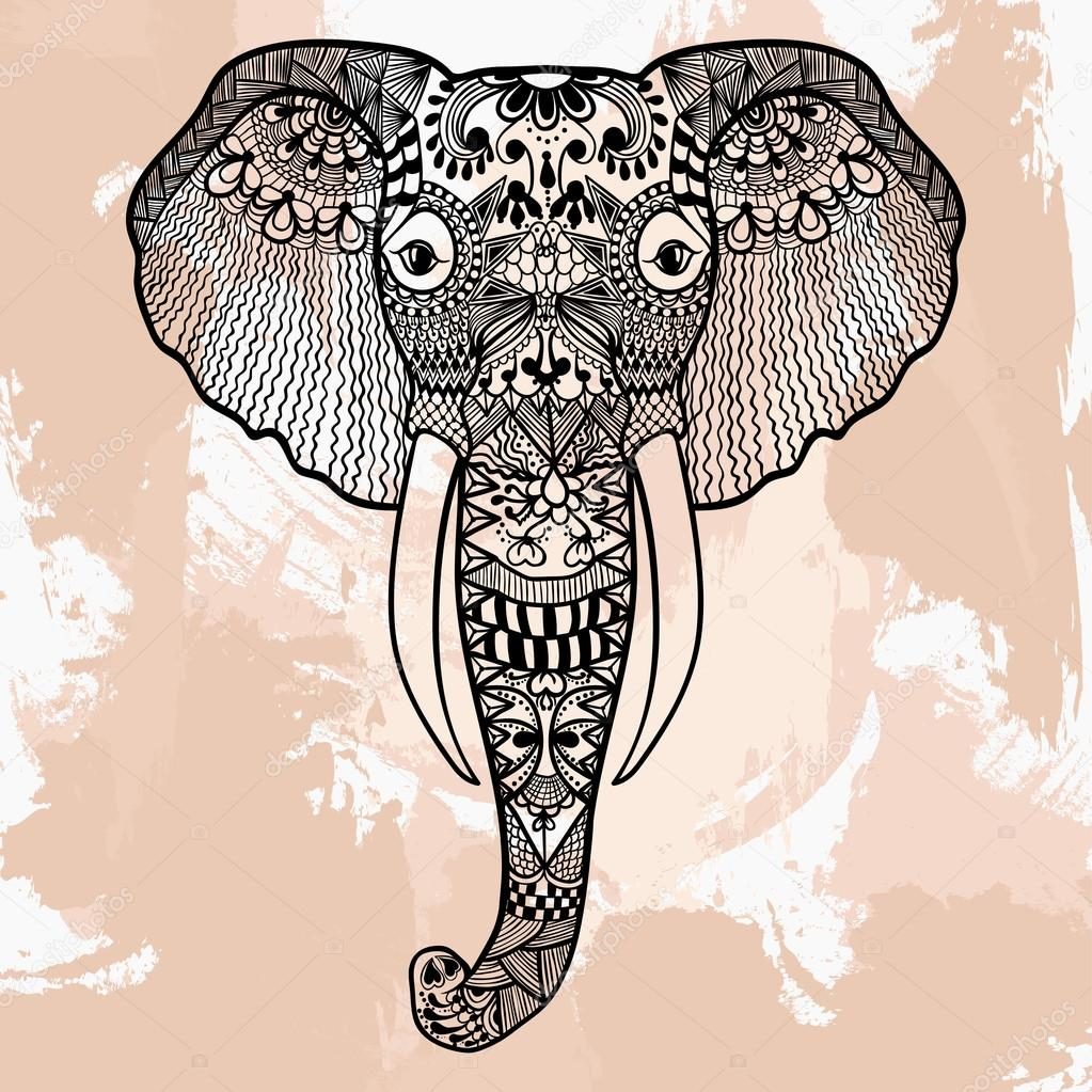 zentangle head of elephant tattoo design in doodle style ornam