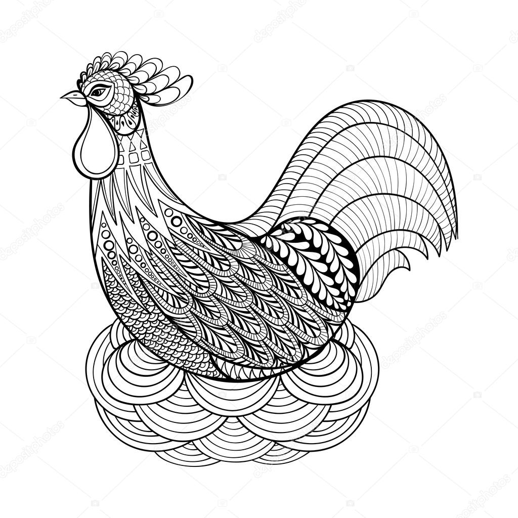 Hand Drawing Chicken In Nest For Adult Anti Stress