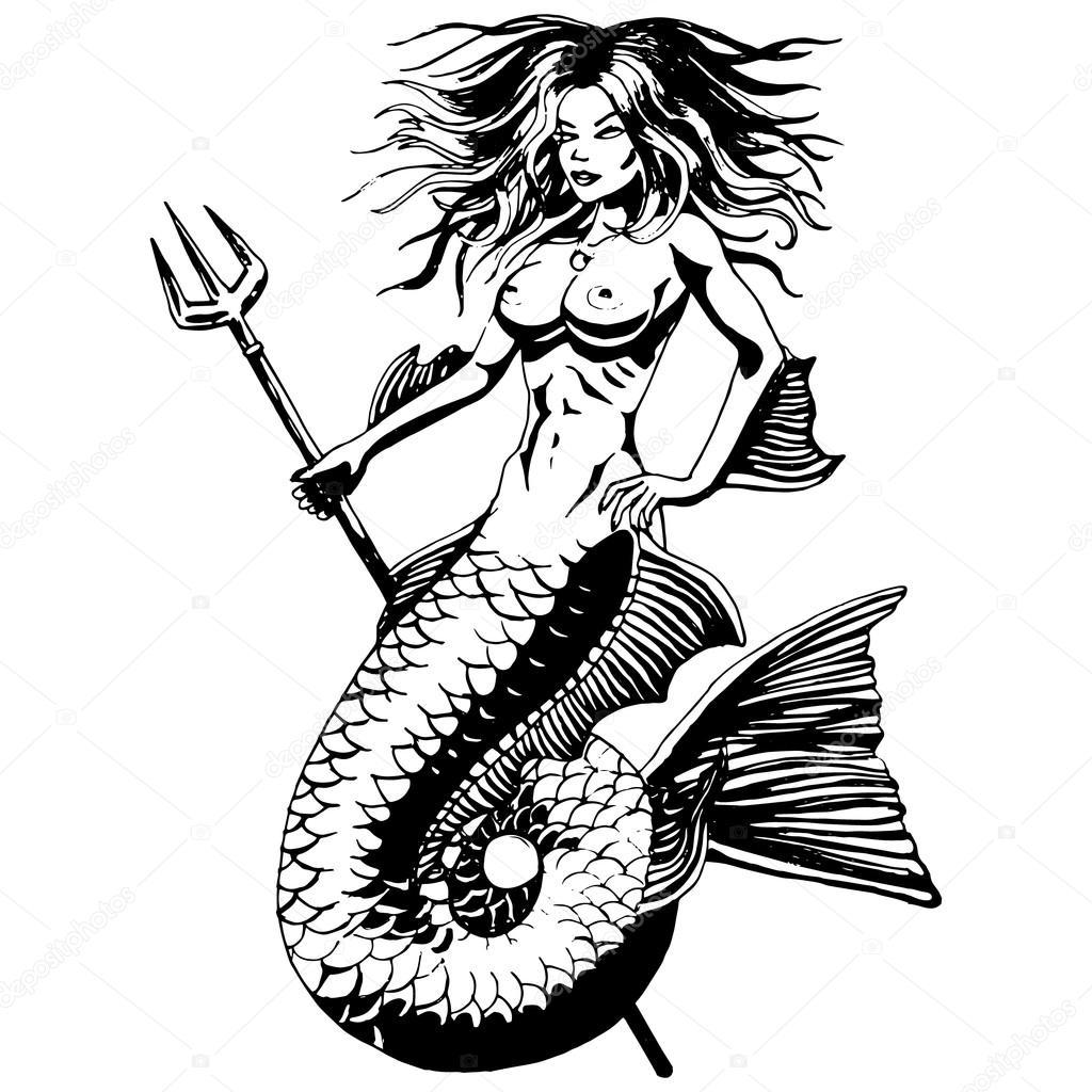 Mermaid Vintage Drawing Isolated Vector