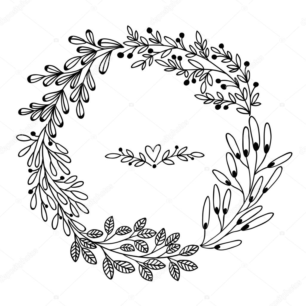 Beautiful Card With Floral Wreath Vector Illustration