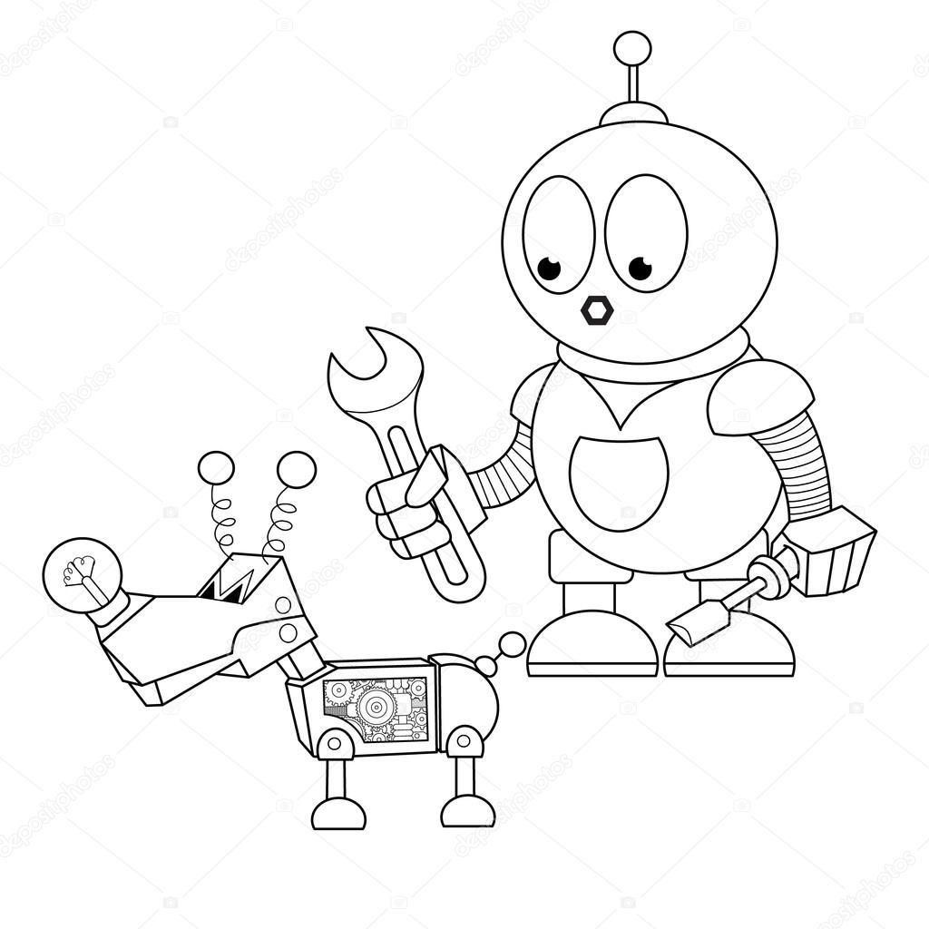 Cartoon Robot Mechanic