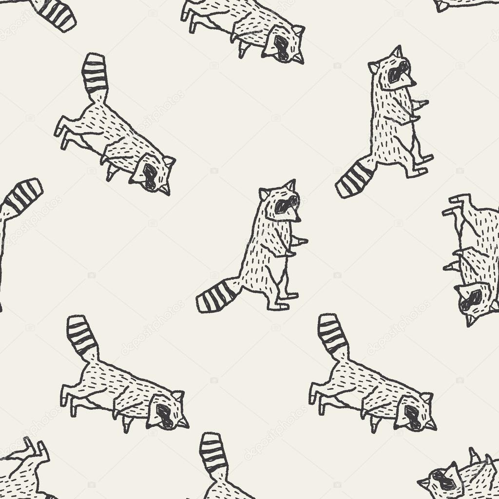 Raccoon Doodle Seamless Pattern Background