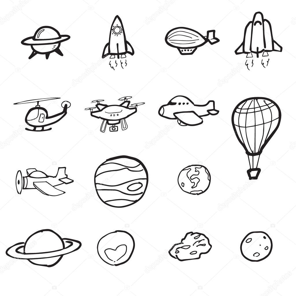 Space Shuttle Plane En Planeet Cartoon Tekenen