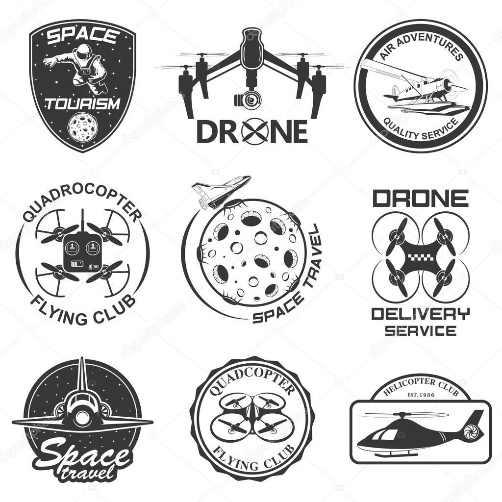 Conjunto De Espacio Vintage Drone Emblemas De Vuelo De