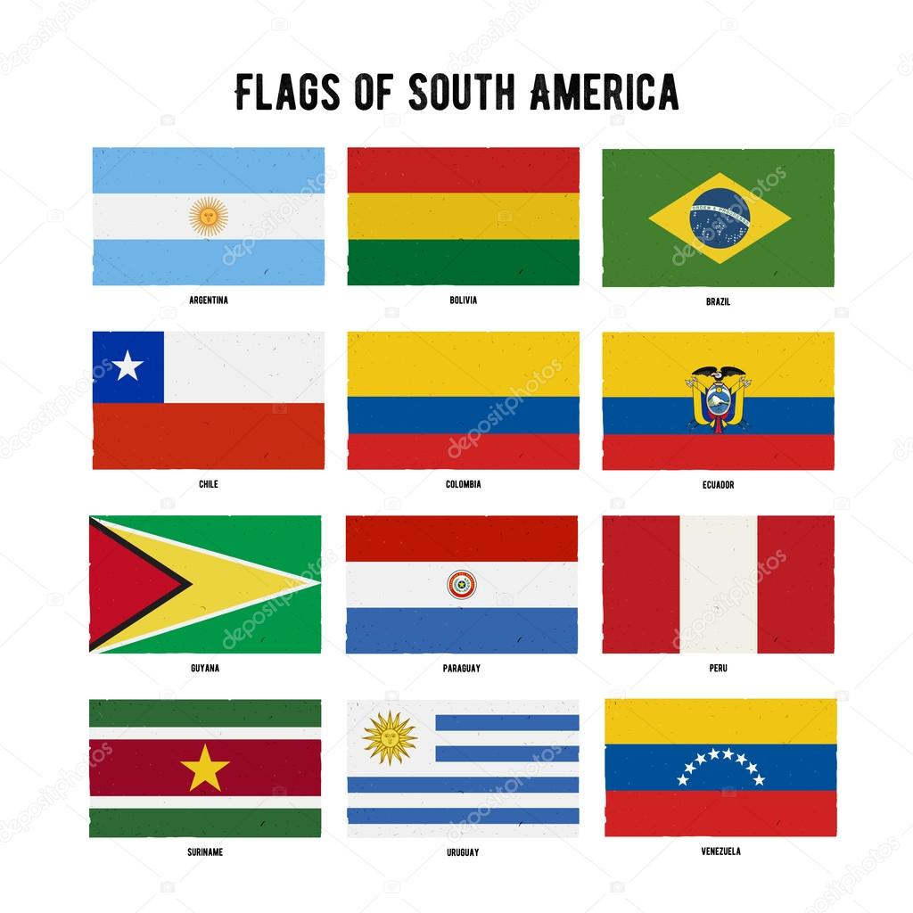 South America Continent Flag Pack A Hand Drawn Scratched
