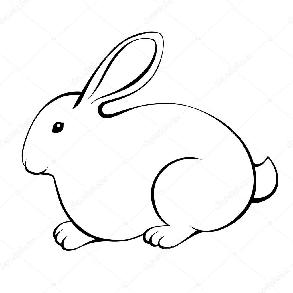 Rabbit Black White Isolated Illustration Vector