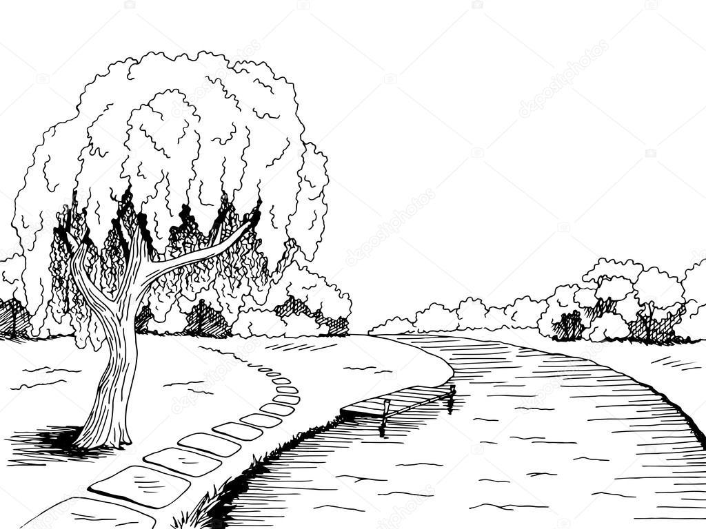 Park River Willow Tree Graphic Art Black White Landscape
