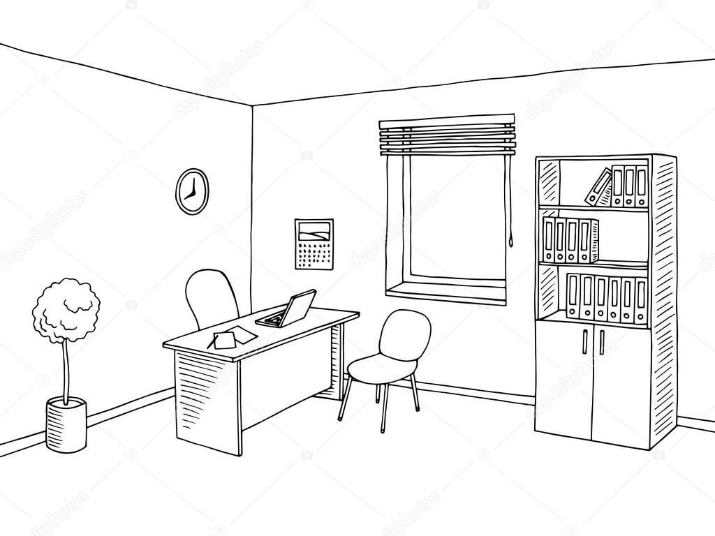 Office Room Interior Graphic Art Black White Sketch