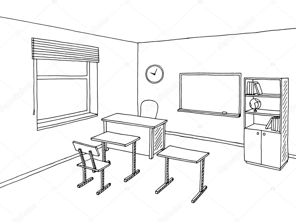School Classroom Black White Graphic Art Interior Sketch