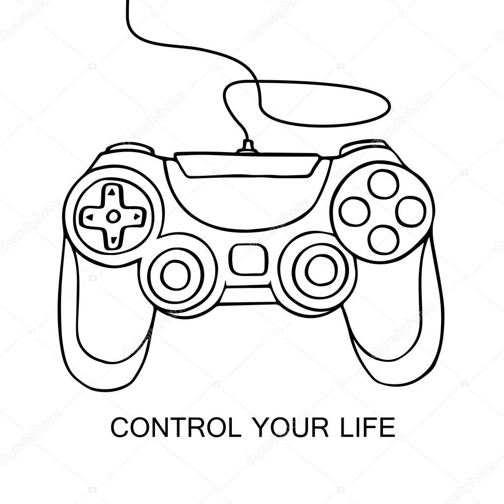 Gamepad Sketch Icon Hand Drawn Vector Illustration