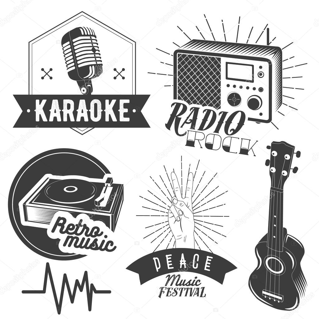Vector Set Of Karaoke And Music Labels In Vintage Style
