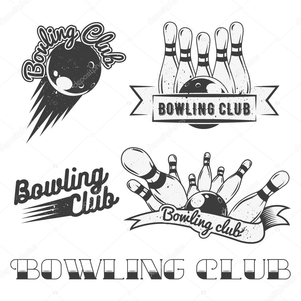 Bowling Club Logo Vector Set In Vintage Style Labels