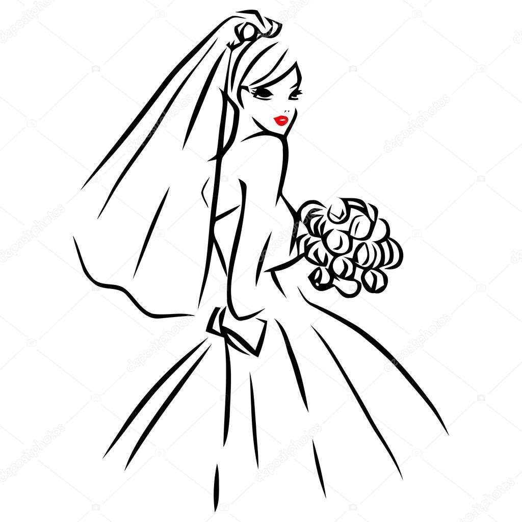 Vector Ink Line Art Bride