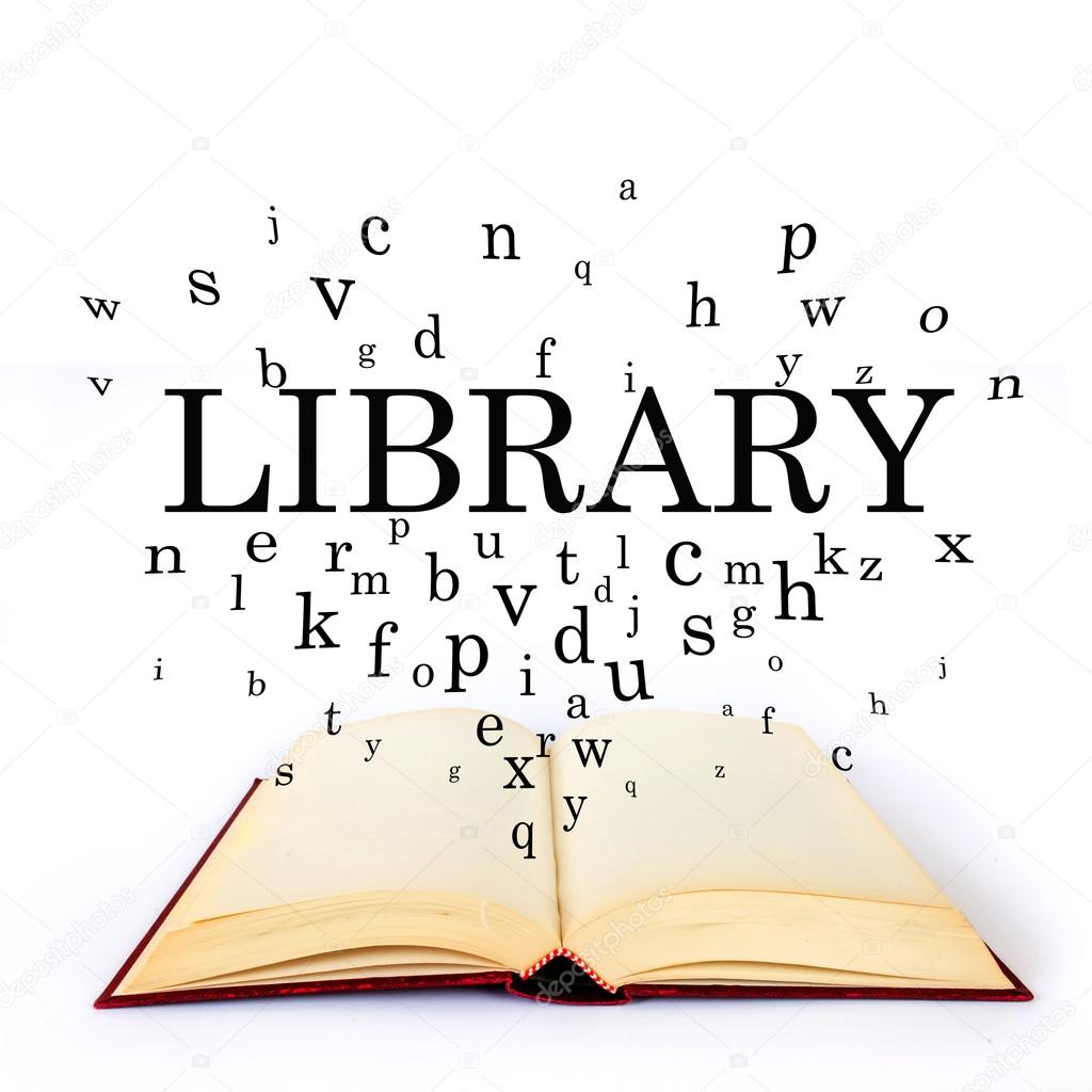 Library Word Book Letters Flying Stock