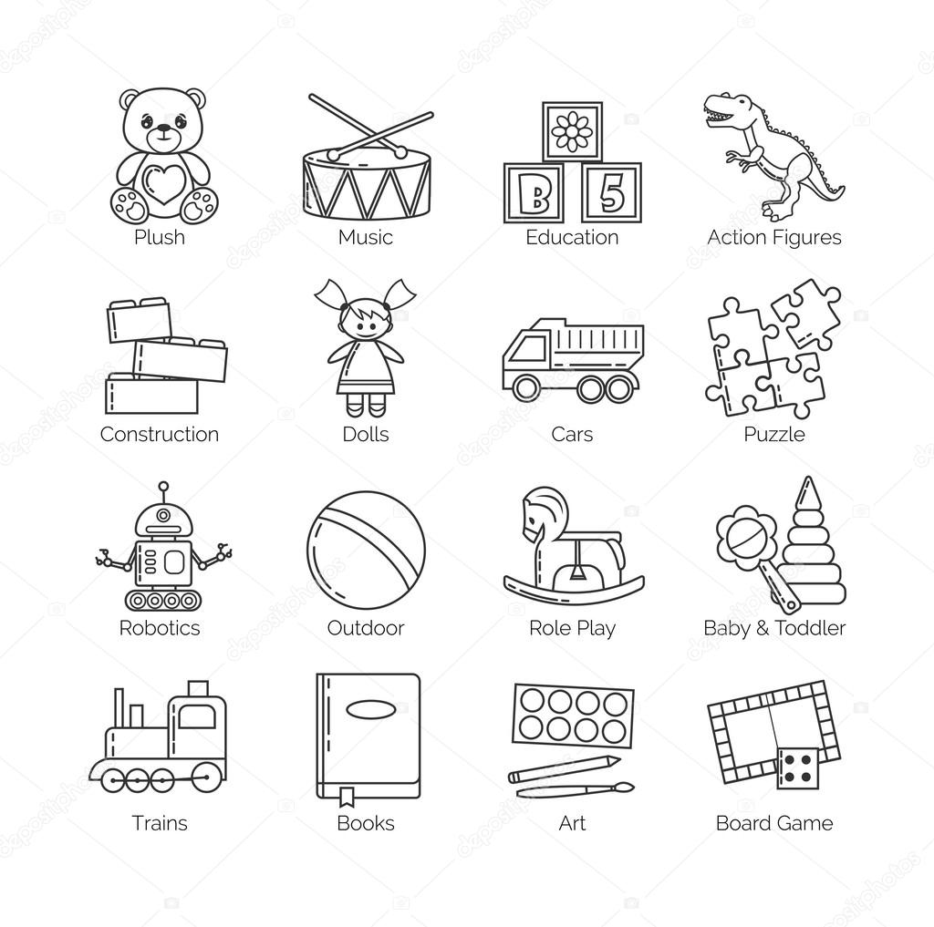 A Collection Of Minimalistic Thin Line Icons For Various