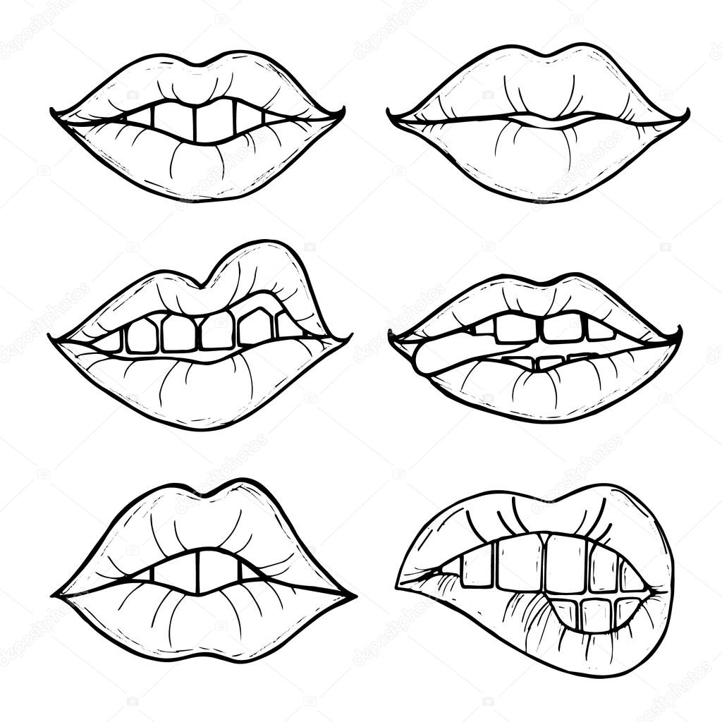 Open Female Mouth With Black Lips Womens Lips Isolated On