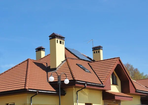 closeup of solar panel on red tiled house roof stock images page everypixel