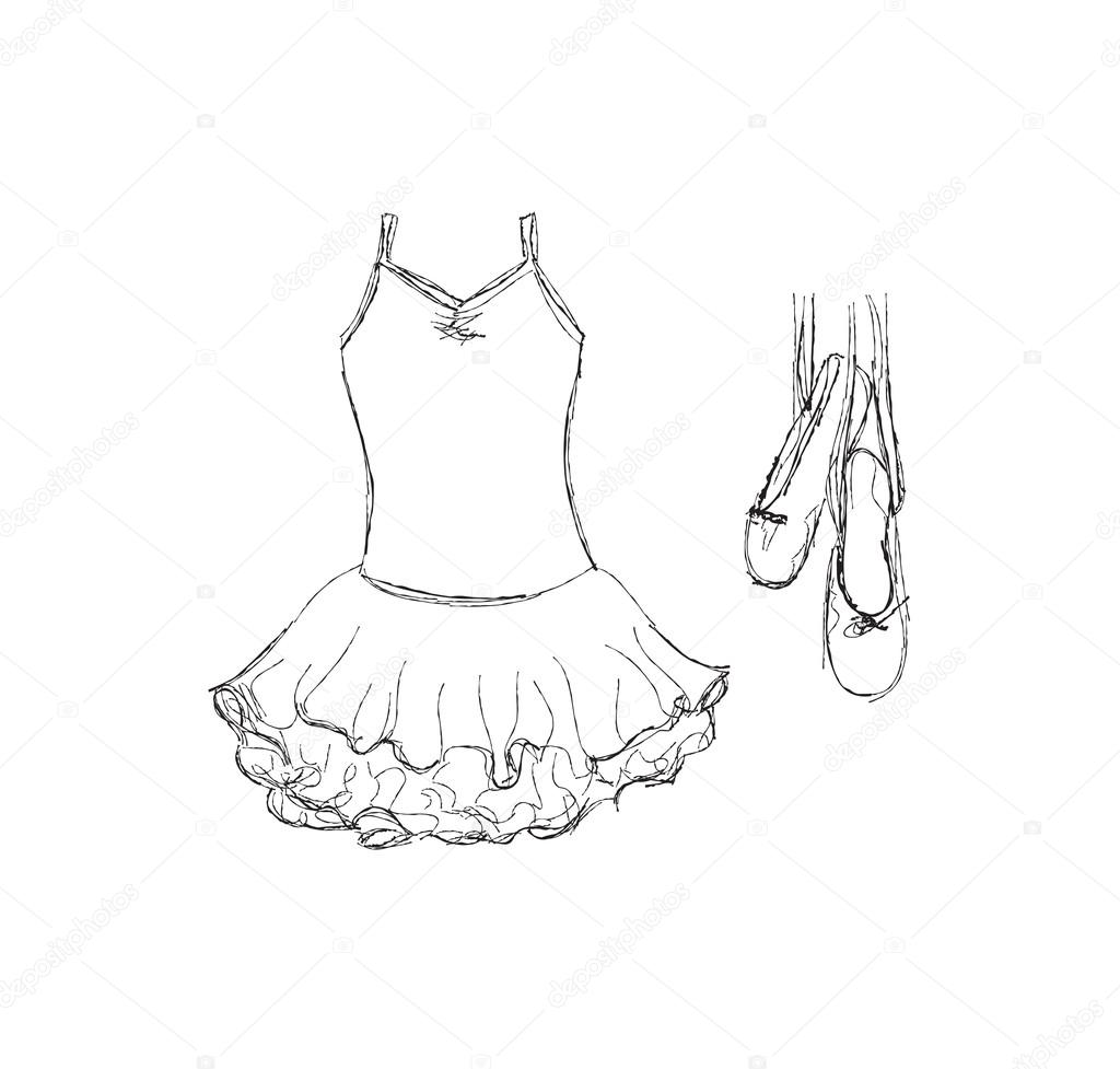Hand Drawn Ballet Tutu And Shoes
