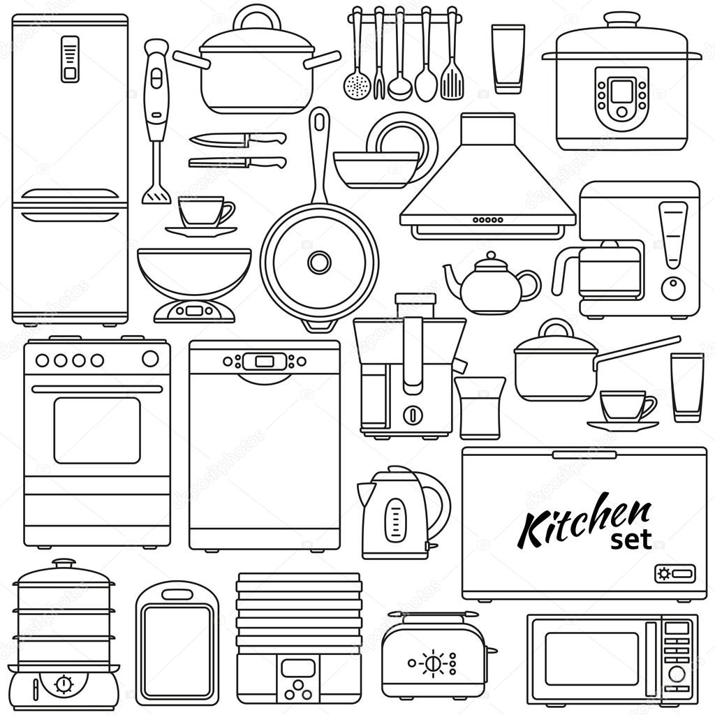 Set Of Line Icons Kitchen Appliances And Accessories
