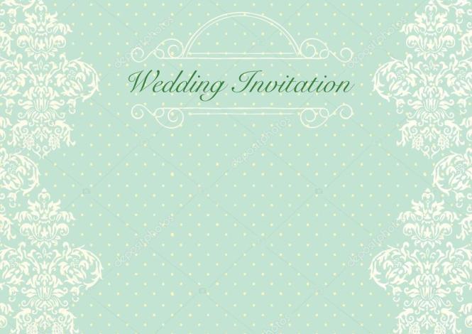 Elegant Mint Green Damask Wedding Invitation Cards