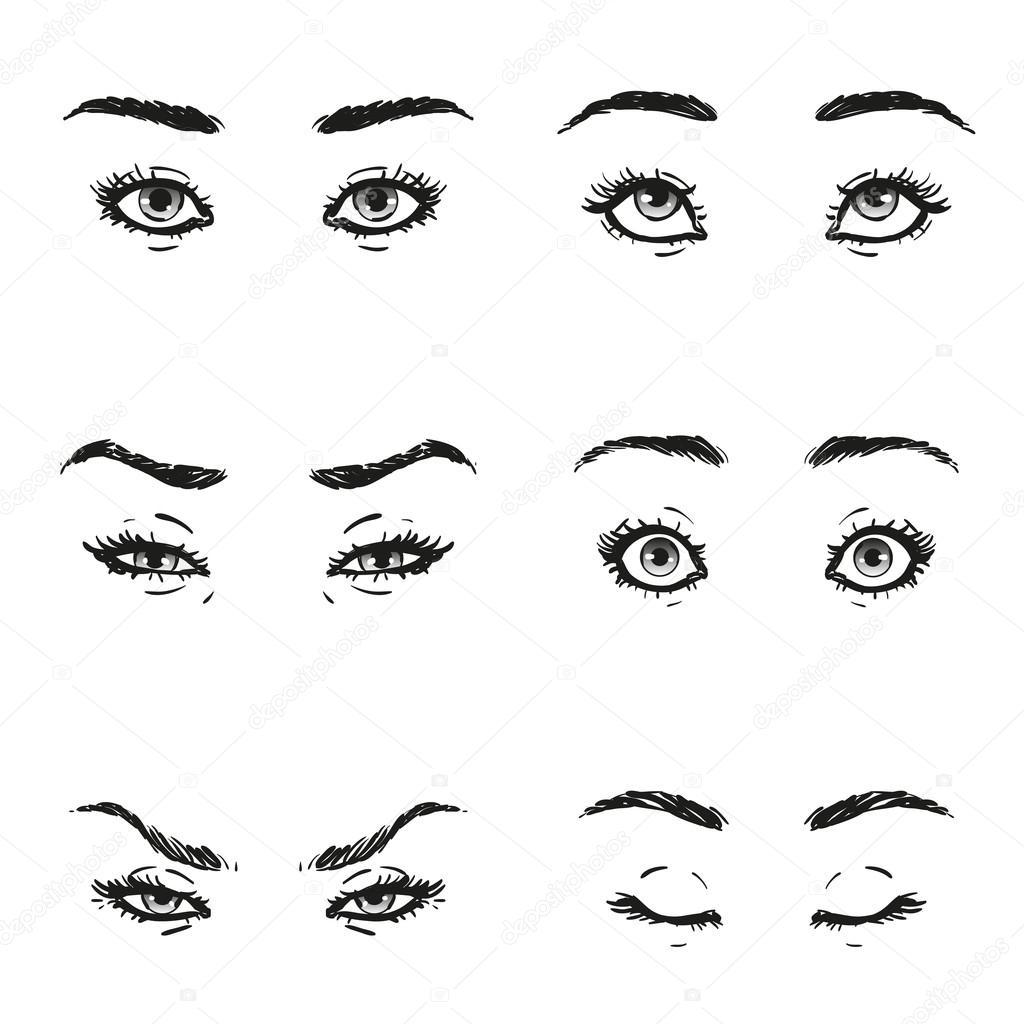Setzen Sie Weibliches Auge Mit Wimpern Und Augenbrauen