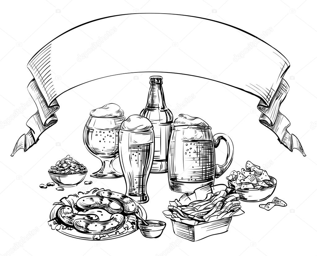 Beer Mug Clip Art Black And White Sketch Coloring Page