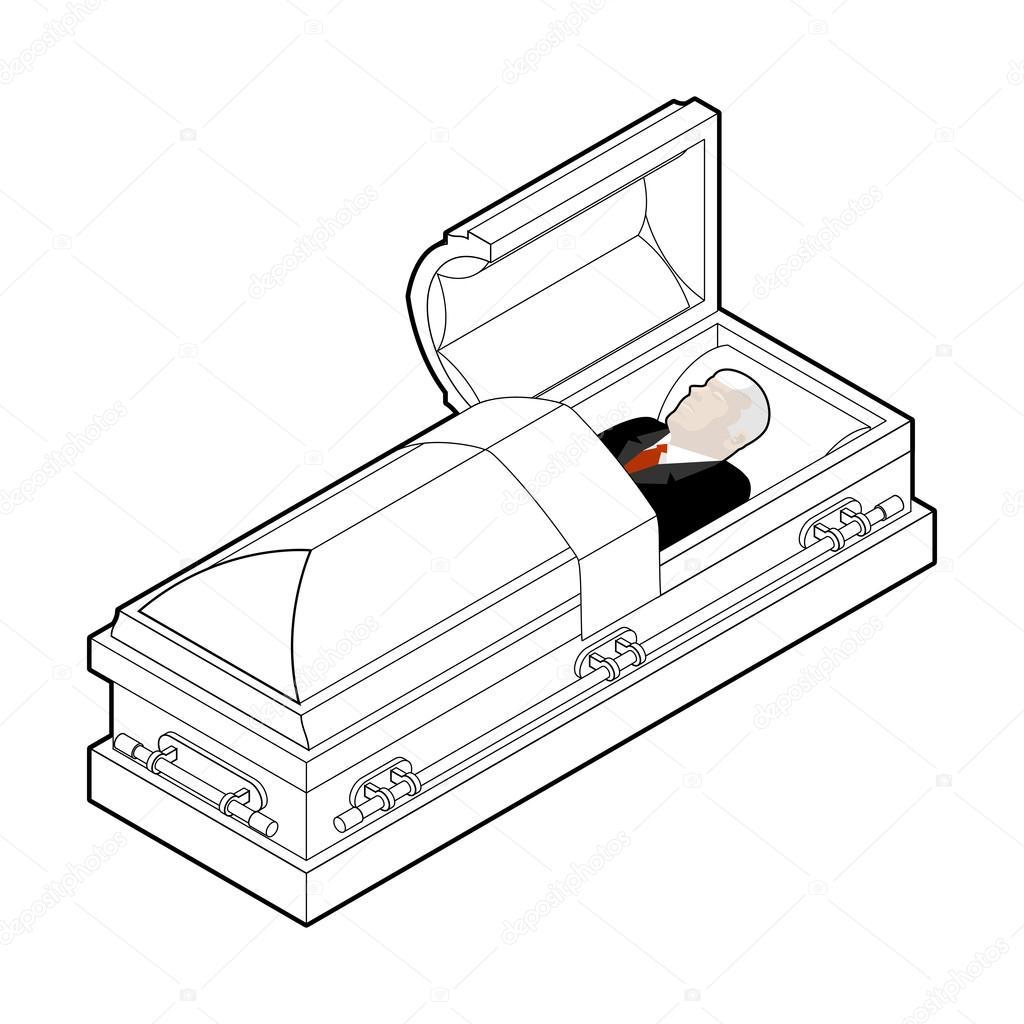 Deceased In Coffin Dead Man Lay In Wooden Casket Corpse