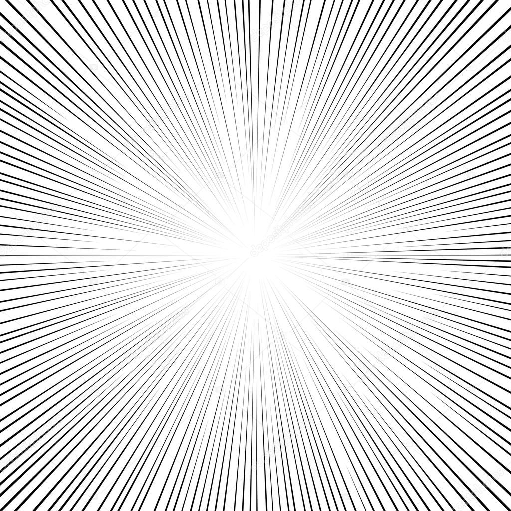 Comic Book Black And White Radial Lines Background Square