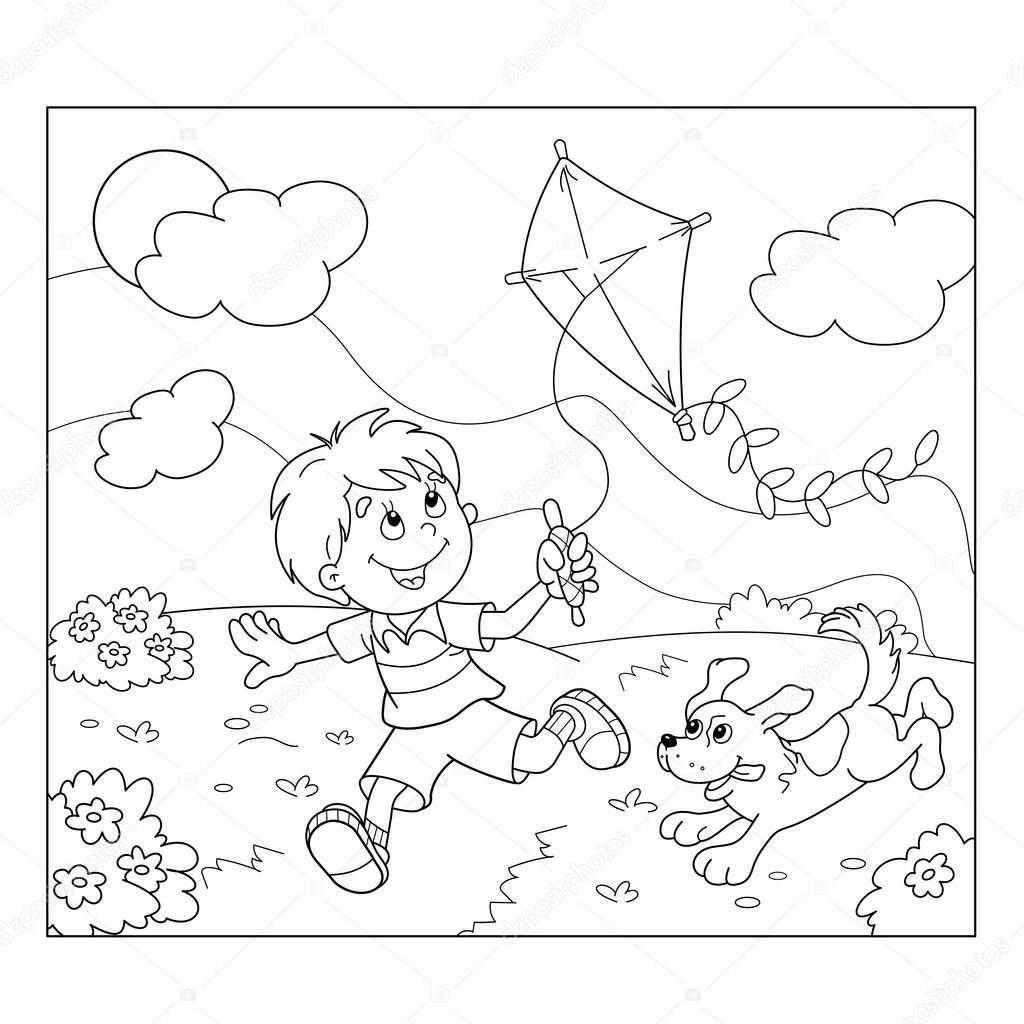 Colorir Pagina Contorno De Desenho Animado Menino Correndo