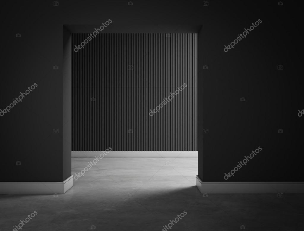 empty dark black room hall 3d rendering     Stock Photo      chingraph     Empty dark black room hall 3d rendering     Stock Photo
