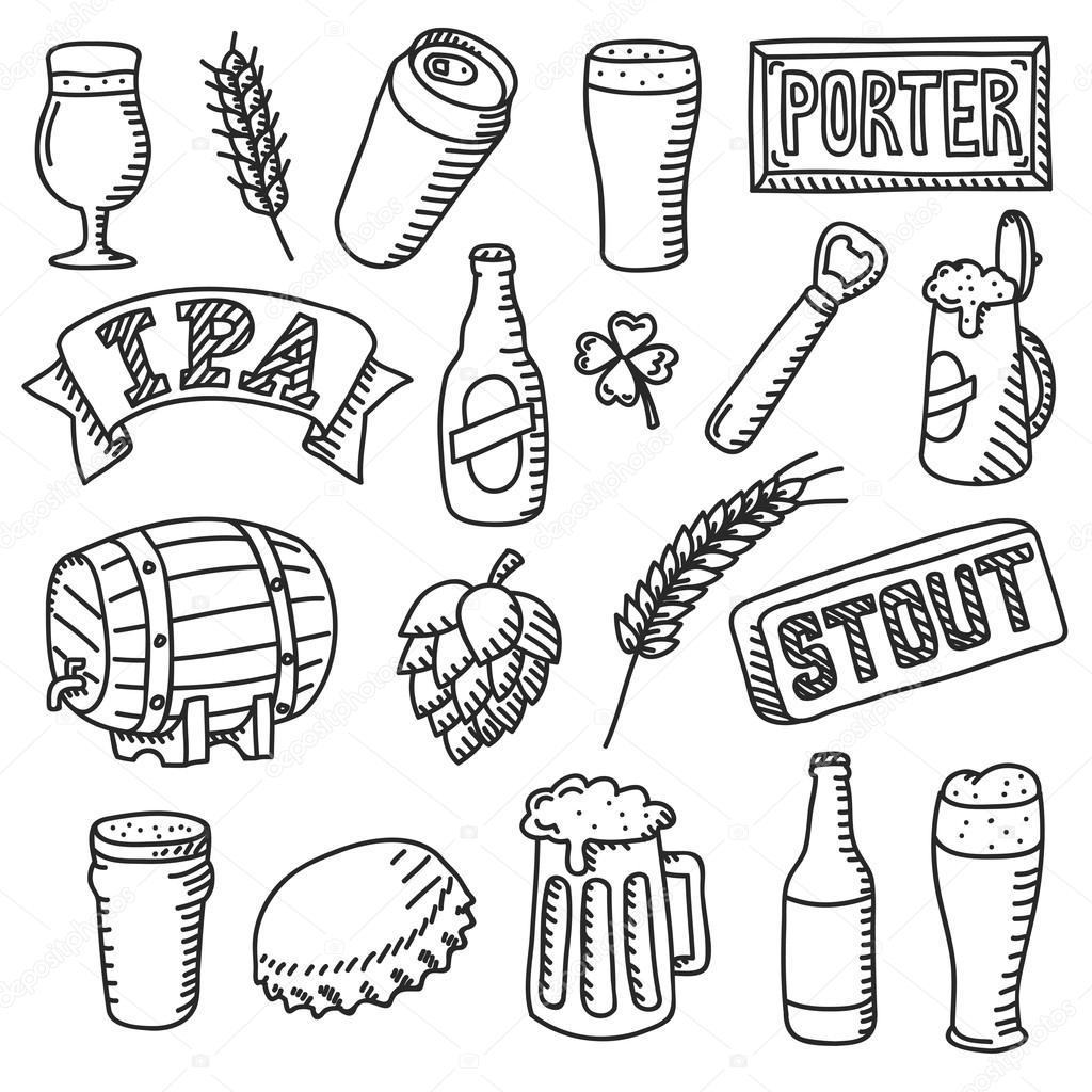 Set Of Beer Doodles