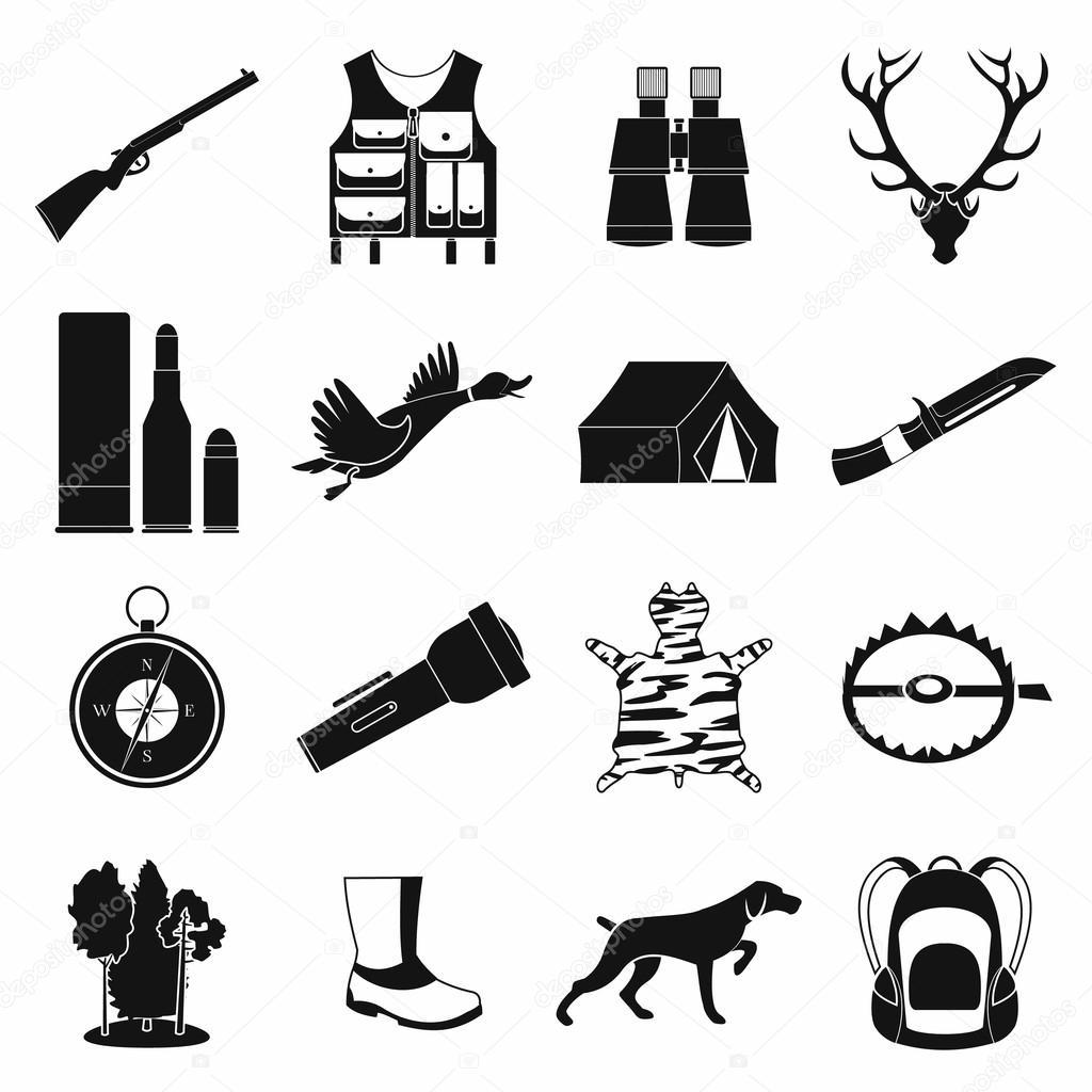 Iconos Simple Caza Negro