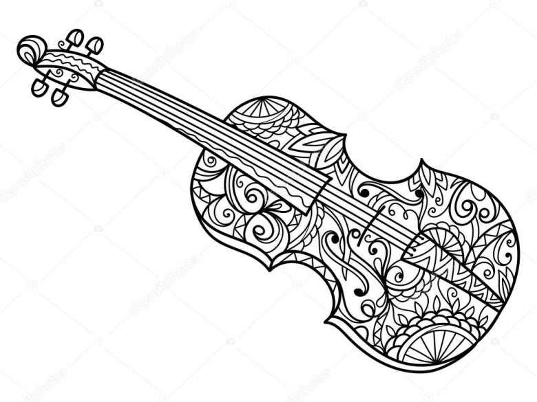 violin coloring book for adults vector — stockvektor