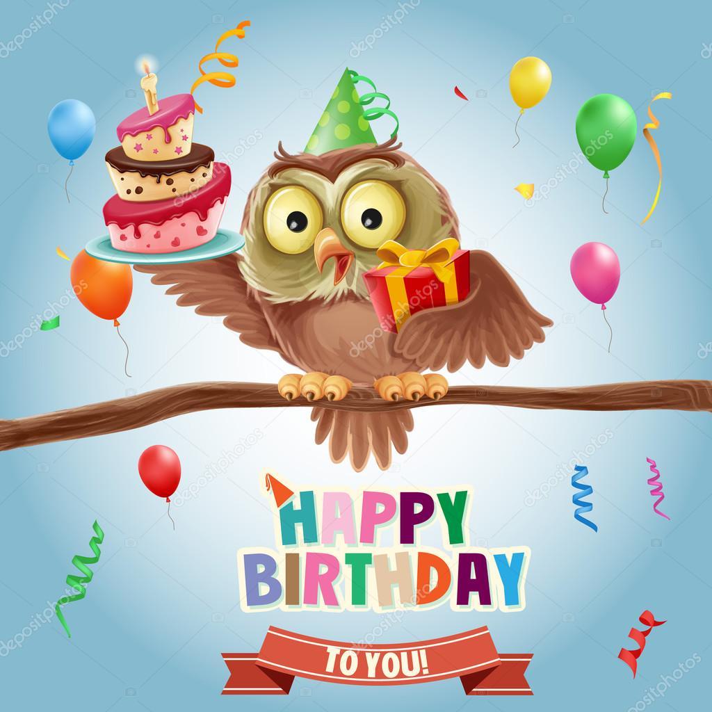 Happy Birthday Banner With Owl Vector Image By C Mollicart Vector Stock 94273624