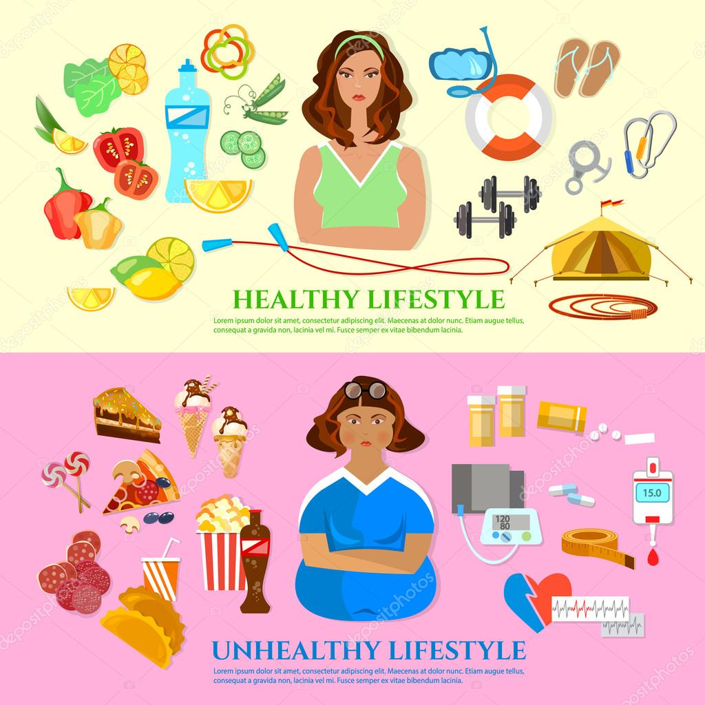 Healthy Lifestyle And Unhealthy Lifestyle Banner