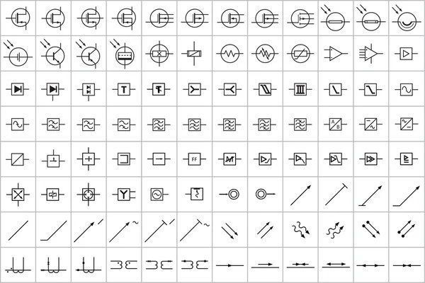 96 Electronic And Electric Symbol V2 Stock Vector