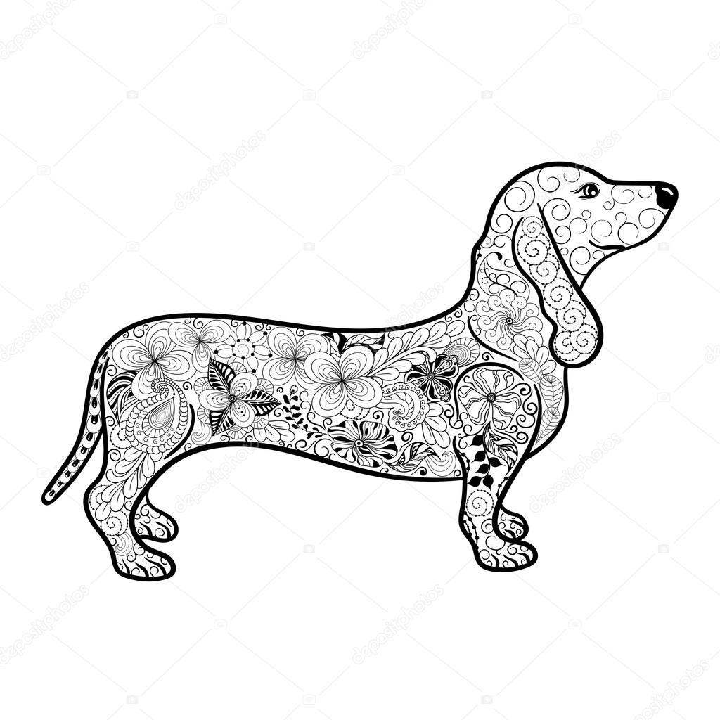 Dachshund Doodle Illustration