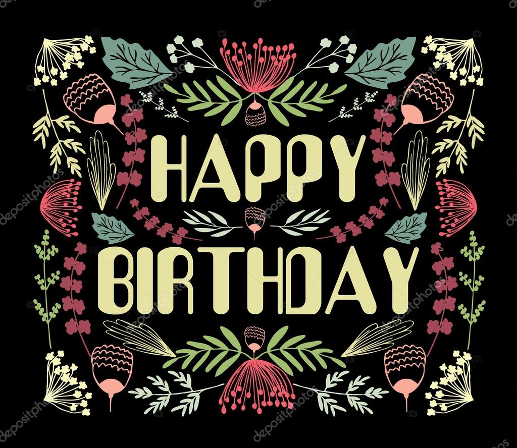 Floral Happy Birthday Card Vector Image By C Svitlana Samokhina Vector Stock 89783524