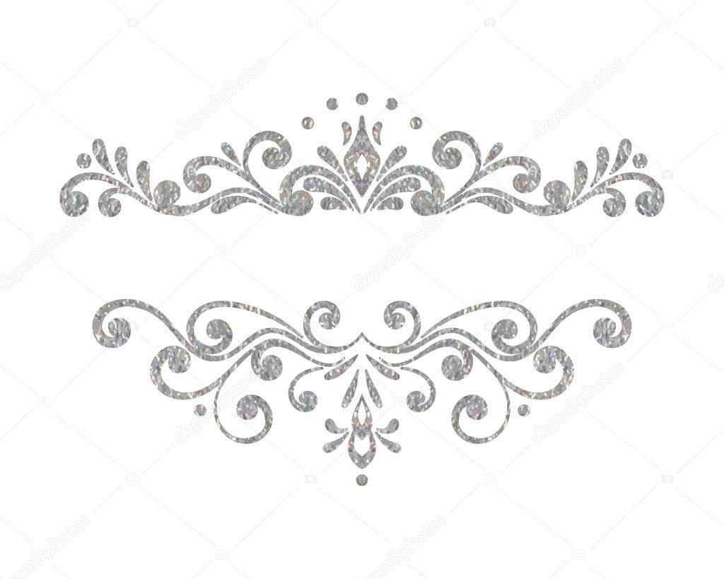 Fronteira De Floral Prata Vintage Elegante Luxo