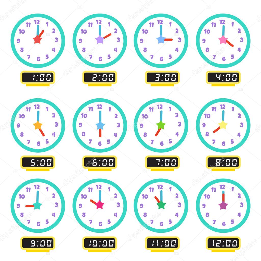 Clock That Show Every Hour Illustration 1