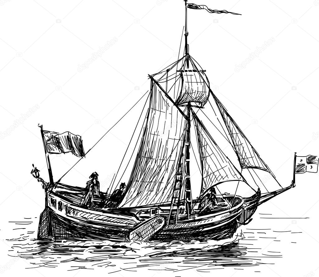 Sketch Of The Sailing Boat